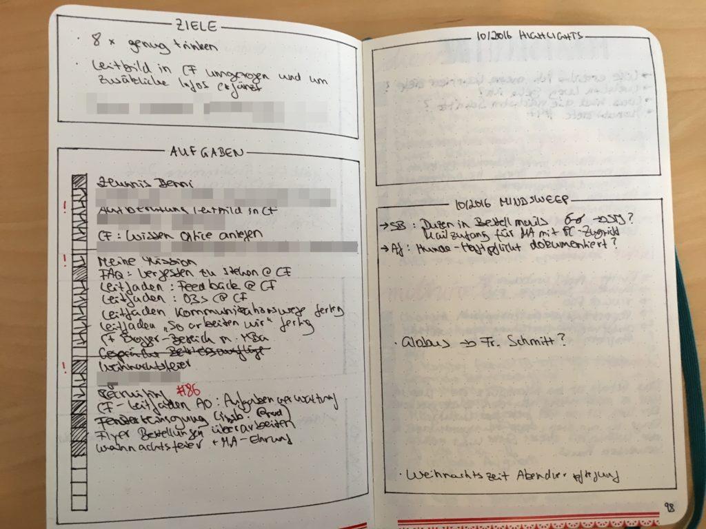 Bullet Journal Aufgaben